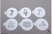 PAISLEY Geboorte stencils set/6
